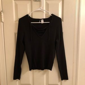 H&M - Black Ribbed Long Sleeve w/ String Lace Up